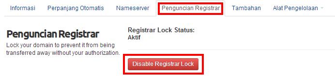 disable Registrar Lock