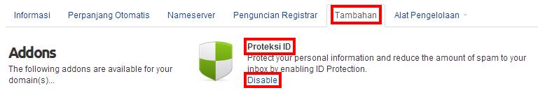 disable proteksi ID