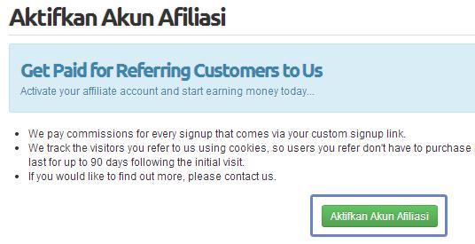 menu aktifkan afiliasi