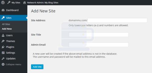 add new site wordpress sub direktori