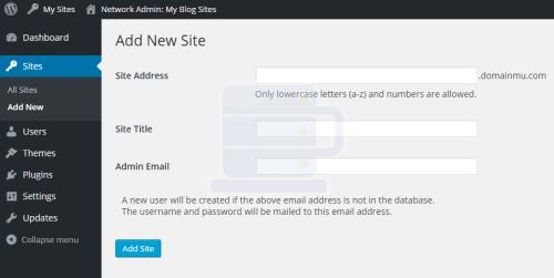 add new site wordpress